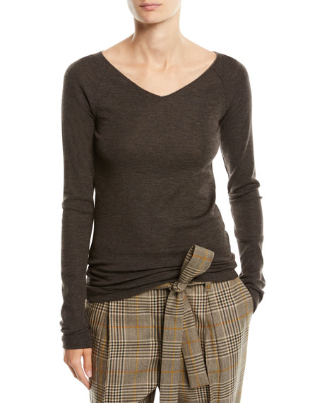 V-Neck Long-Sleeve Wool Jersey Sweater w/ Monili Trim
