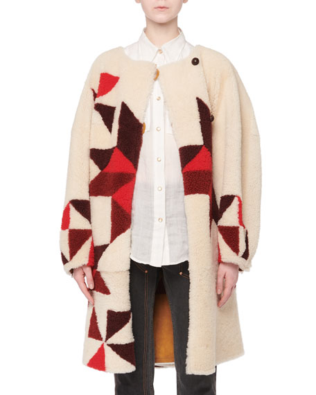 Nordic-Intarsia Reversible Lamb Shearling Fur Coat