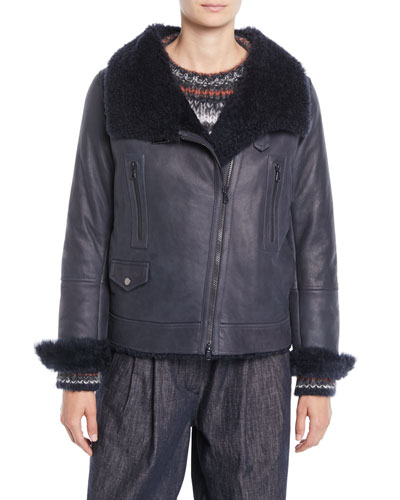 Zip-Front Leather Shearling Moto Jacket