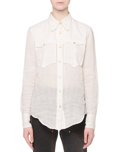 Naria Button-Front Long-Sleeve Ramie Western Shirt
