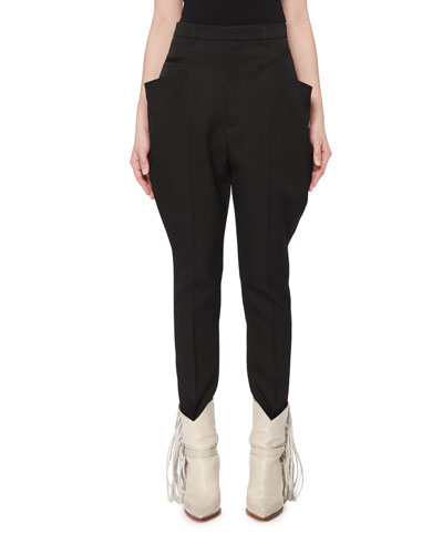 Raith Flared-Pocket Skinny-Leg Wool Jodhpur Pants