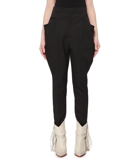 Isabel Marant Raith Flared-Pocket Skinny-Leg Wool Jodhpur Pants