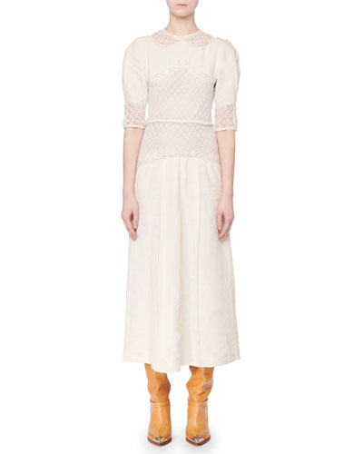 Lydie Elbow-Sleeve Linen Lace A-Line Long Dress