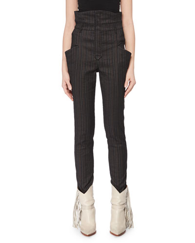 Karen High-Waist Skinny-Leg Stretch Pinstripe Pants