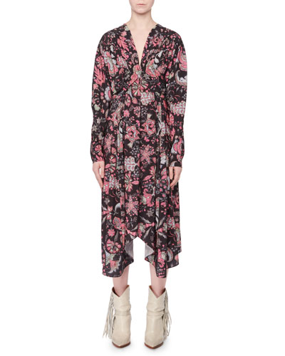 V-Neck Long-Sleeve Printed Techno Long Dress