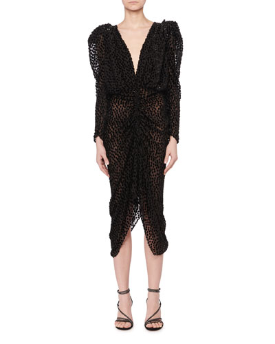 Maray Plunging Ruched Fitted Dot Devore Velvet Midi Cocktail Dress