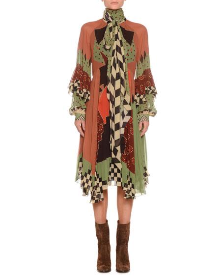 Tie-Neck Multi-Print Silk Draped Midi Dress