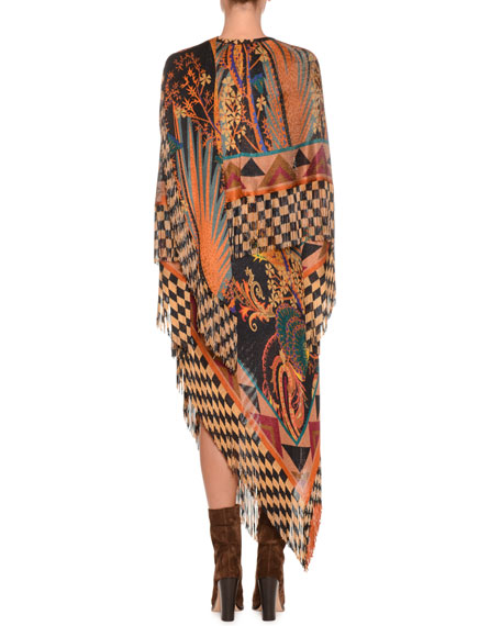 Mixed-Print Long Dress w/ Fringe Hem