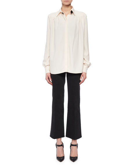 Tamar Long-Sleeve Button-Front Shirred-Back Shirt