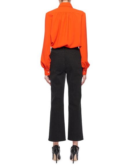 Tamar Long-Sleeve Button-Front Shirred-Back Shirt