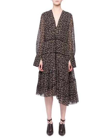 Isabel V-Neck Long-Sleeve Floral-Print Tiered Midi Dress, Black
