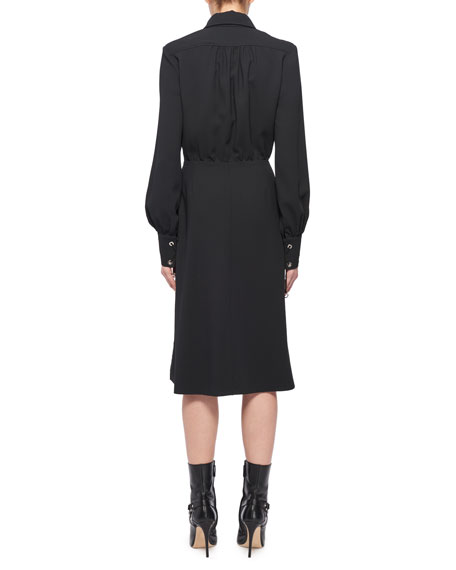 Kat Long-Sleeve Wrap Side-Drape Shirtdress