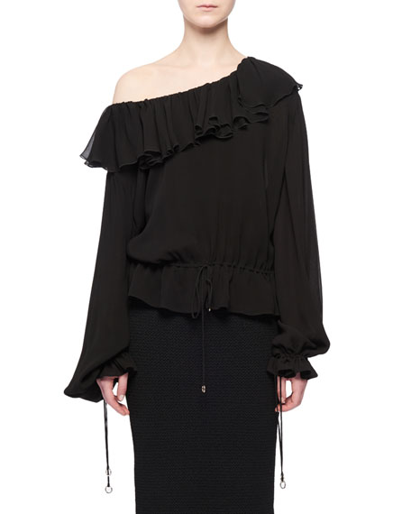 Altuzarra Jong Ruffle One-Shoulder Long-Sleeves Blouson Peasant