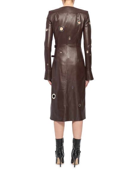 Angie Long-Sleeve Leather Wrap Grommets Midi Dress