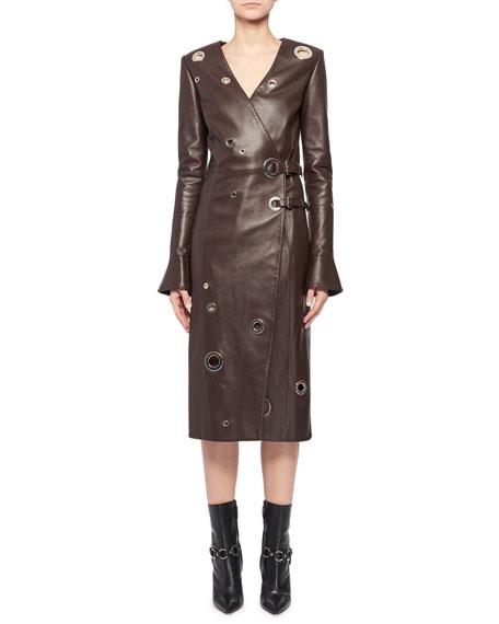 Altuzarra Angie Long-Sleeve Leather Wrap Grommets Midi Dress