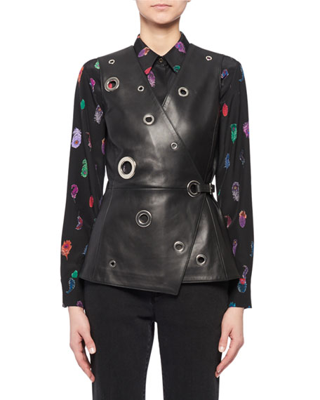 Elliman Grommets Side-Wrap Leather Vest