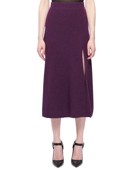 Cavin Front-Slit Midi Cashmere Knit Skirt