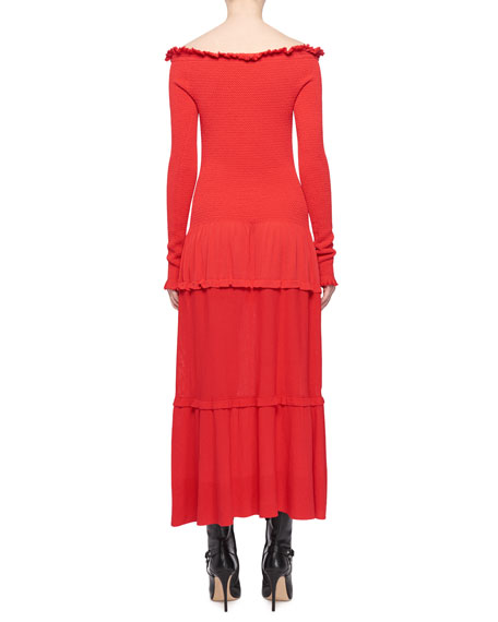 Vendaval Off-the-Shoulder Long-Sleeve Smocked Tiered Midi Dress