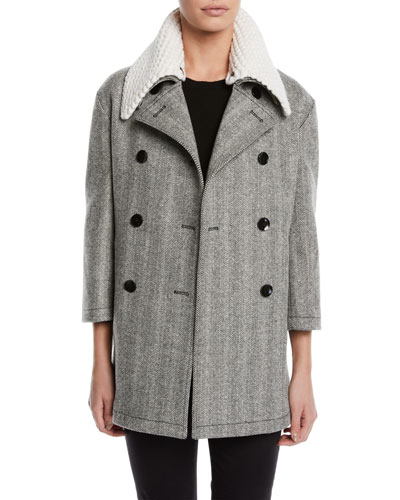 Double-Breasted Herringbone Car Coat w/ Removable Crochet Collar