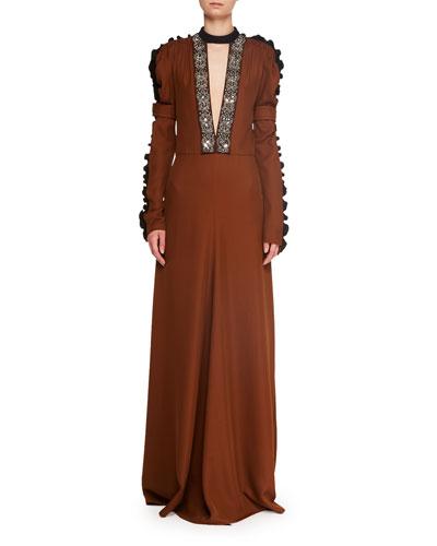 Ruffle Long-Sleeve Deep-V A-Line Evening Gown