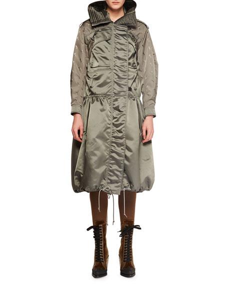 Belted Shiny Nylon Canvas Knee-Length Coat w/ Horse Sleeve Detail