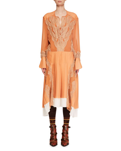 Long-Sleeve Silk Mousseline Lace-Inset A-Line Dress