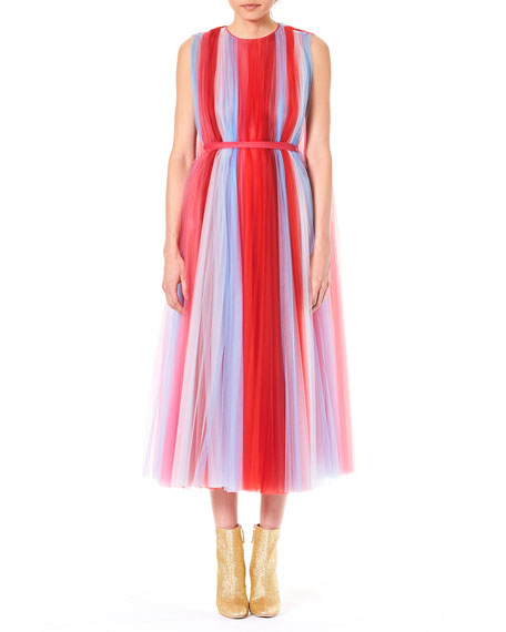 Jewel-Neck Sleeveless Striped Tulle Evening Gown