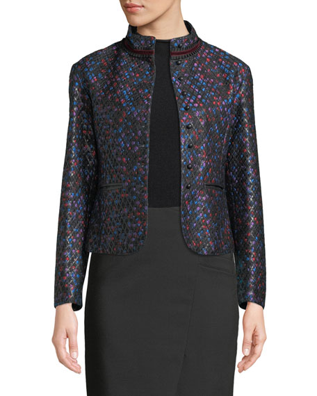 Giorgio Armani MULTICOLOR-FLORAL JACQUARD W/ LEATHER LATTICE TRIM