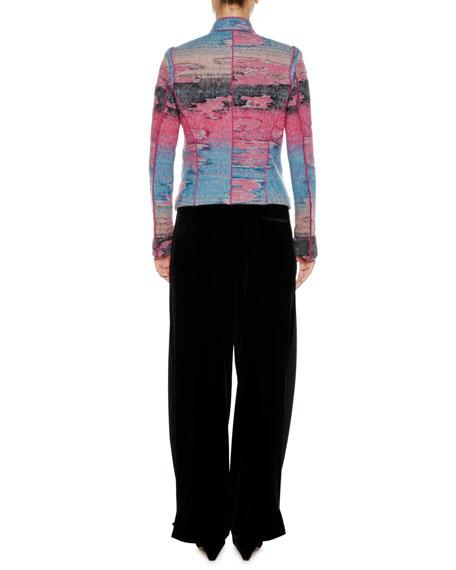 Multicolor Watercolor Zip-Front Wool-Blend Jacket