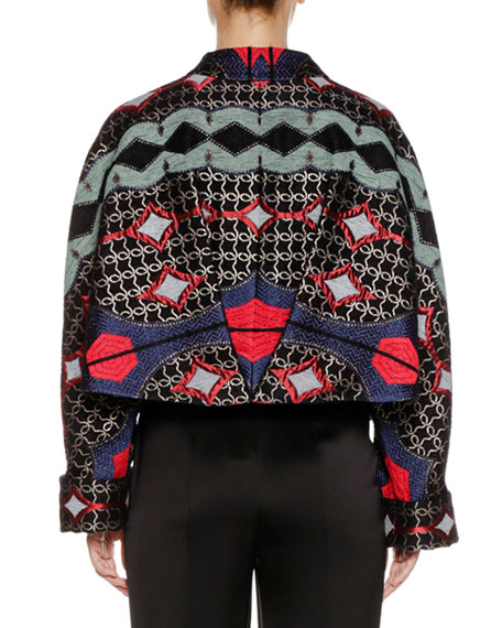Multicolor Embroidered Artisan Short Caban Jacket