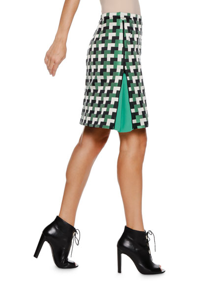 A-Line Check-Jacquard Short Skirt w/ Side-Zip Detail