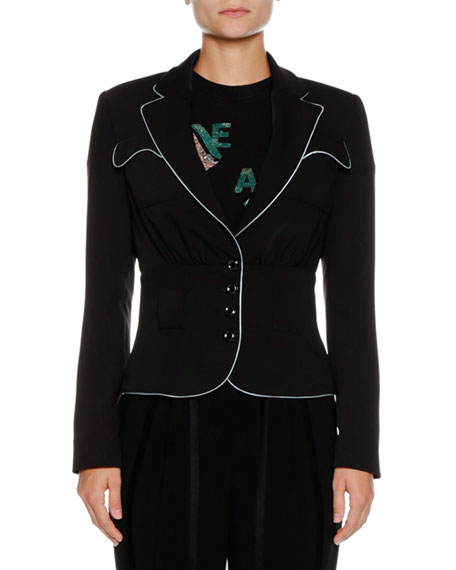 Button-Front Fitted Jacket w/ Contrast Piping