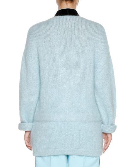 V-Neck Long-Sleeve Wool-Mohair Cardigan w/ Contrast Trim