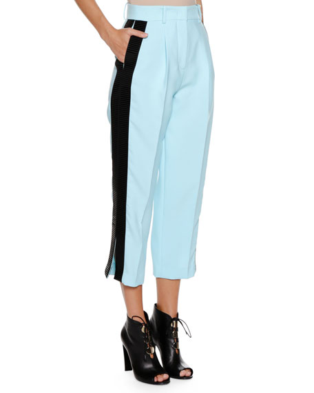High-Waist Straight-Leg Cropped Pants w/ Contrast Side Stripe