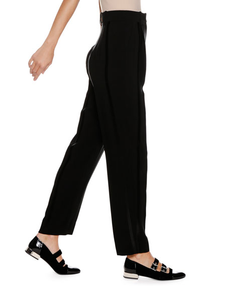 High-Waist Straight-Leg Crepe Trousers