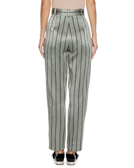 High-Waist Straight-Leg Striped Satin Trousers