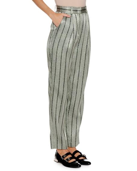 High-Waist Straight-Leg Striped Satin Trousers