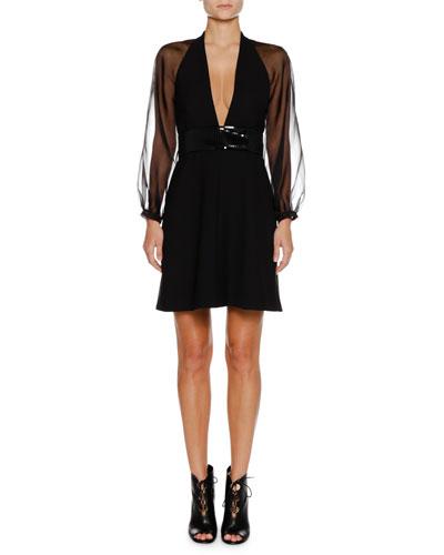Deep-V Sheer-Sleeve Belted Crepe Mini Cocktail Dress