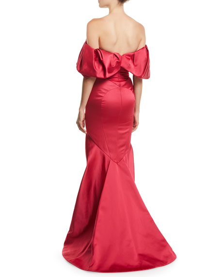 Ruffled Off-the-Shoulder Trumpet Evening Gown