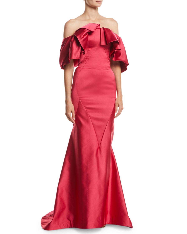 Zac Posen Ruffled Off-the-Shoulder Trumpet Evening Gown   Neiman Marcus