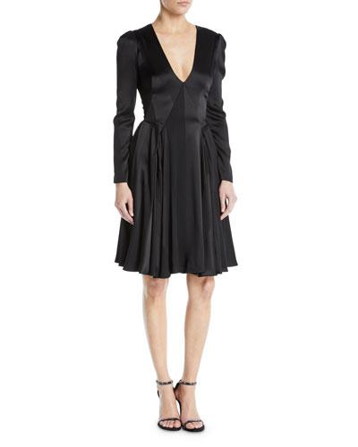 V-Neck Long-Sleeve Fit-and-Flare Satin Crepe Stripe Cocktail Dress