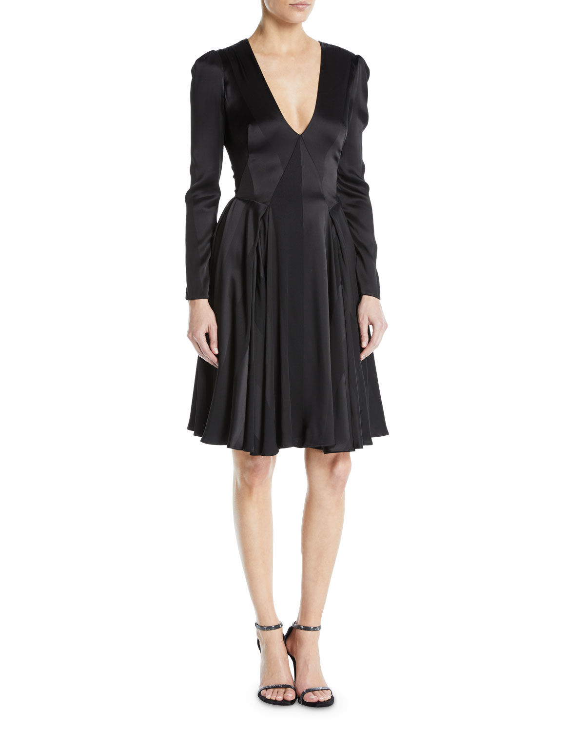 Zac Posen V Neck Long Sleeve Fit And Flare Satin Crepe