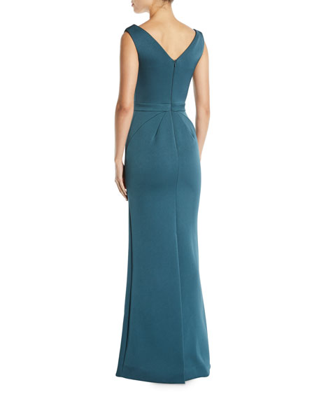 Jewel-Detailed Sleeveless Column Evening Gown