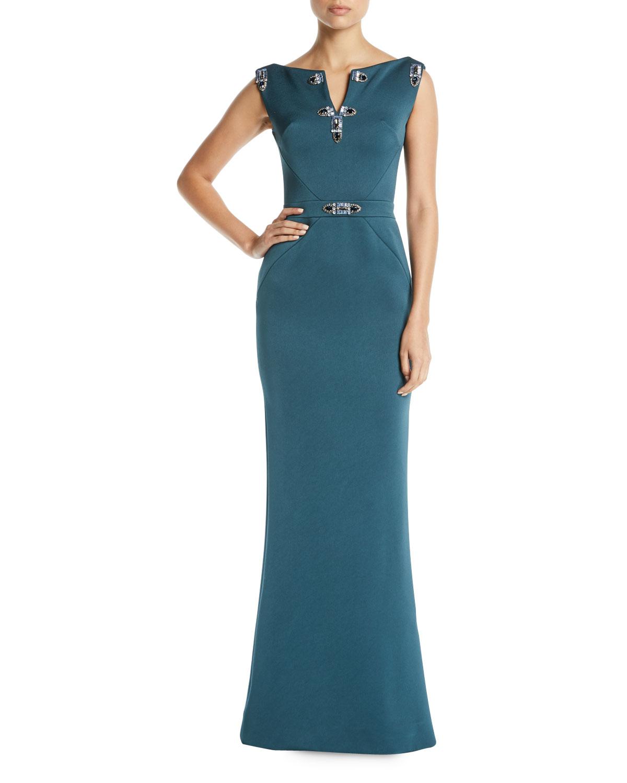Zac Posen Jewel-Detailed Sleeveless Column Evening Gown   Neiman Marcus
