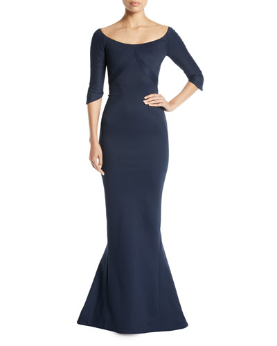 Scoop-Neck Elbow-Sleeve Fitted Evening Gown