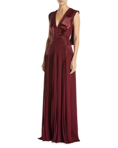 V-Neck Sleeveless Draped-Back Beaded Pleated Column Evening Gown