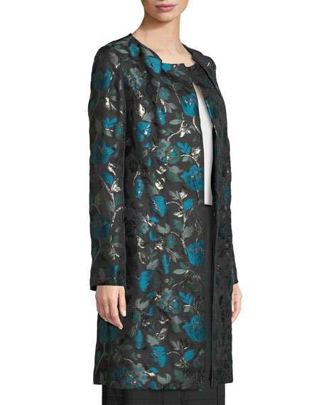 Open-Front Metallic Floral-Jacquard Coat