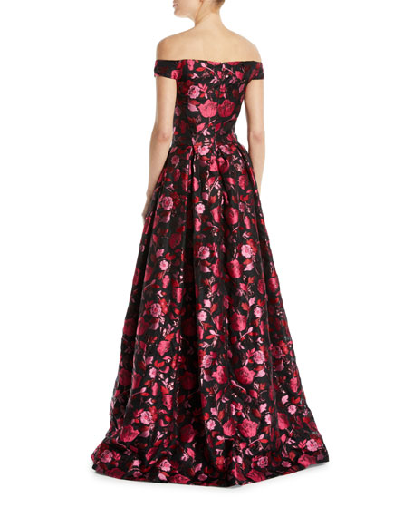 Off-the-Shoulder Sleeveless Floral-Jacquard Evening Gown