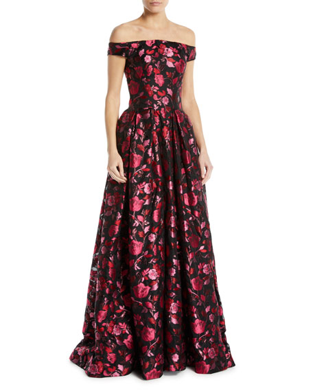 ZAC POSEN Off-The-Shoulder Embellished Floral-Jacquard Evening Gown in Multi Berry