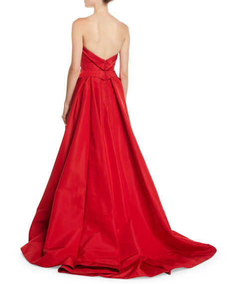 Strapless Sweetheart-Neck Draped Evening Gown w/ Train
